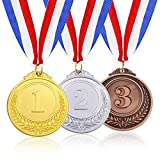 Caydo 3 Pieces Gold Silver Bronze Award Medals - Olympic Style Winner Medals Gold Silver Bronze with Ribbon