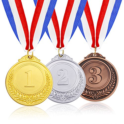 Caydo 3 Pieces Gold Silver Bronze Award Medals - Olympic Style Winner Medals Gold Silver Bronze with Ribbon]()