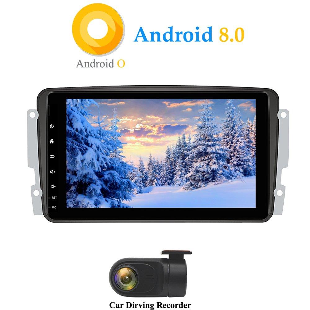 XISEDO Android 8.0 Autoradio In-Dash 8 Zoll Car Radio 8-Core RAM 4G ROM 32G Autonavigation Car Radio f/ür Mercedes-Benz CLK W209// C Class W203// Viano//Vito// Vaneo mit DVR