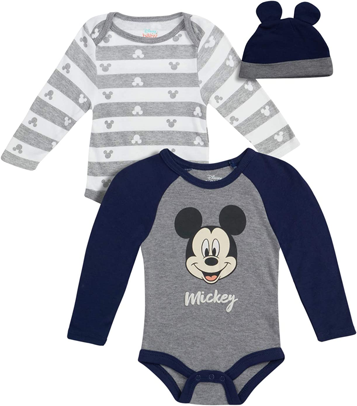 Disney Baby Boys Newborn Winter Bodysuits (2 Pack) with Hat - Mickey Mouse, Toy Story, Lion King, Winnie The Pooh