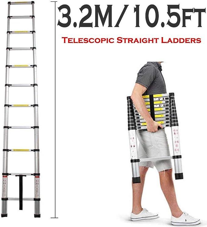 Escalera telescópica de aluminio, 3,2 m: Amazon.es: Bricolaje y herramientas