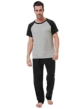 2a8db375b83 Men Cotton Pajama Sets Short Sleeve Crew Neck Tops Lightweight Sleepwear  Size S