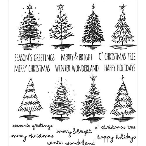 Art Gone Wild Scribbly Christmas Cling Mounted Stamp, Grey by Stampers Anonymous by Stampers Anonymous