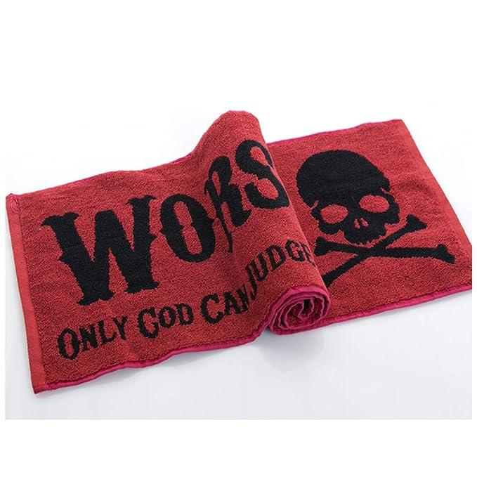 BESTOMZ 2 unids Algodón Deportes Toalla Cráneo de Impresión Suave Gimnasio Absorbente Toallas de Baño para Correr Playa Al Aire Libre Yoga (Rojo): ...