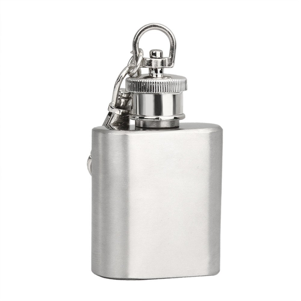 Clothful  1oz Mini Stainless Steel Hip Flask Alcohol Flagon with Keychain