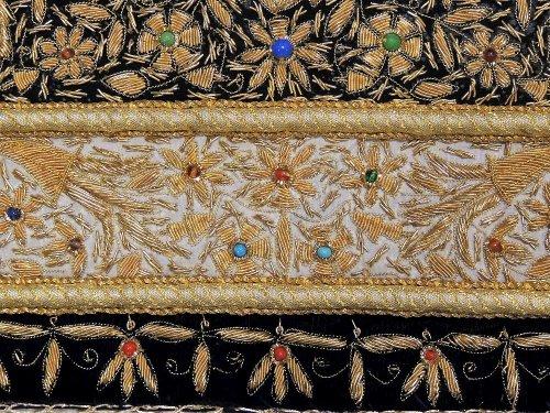 Handmade Precious Jewel Carpet Zardozi Embroidered Kashmir
