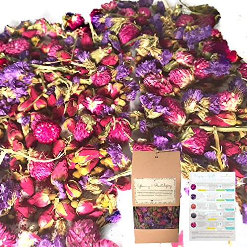All Natural Petal Confetti Potpourri-Rose Bud, French Satire Forget Me Not, Globe Amaranth Dried Flowers for Bath, Soap Making, Food Coloring, Flower Petals for Bath Bomb