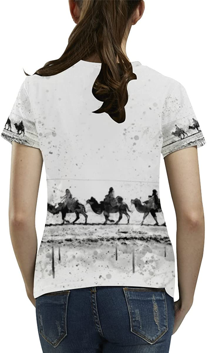 InterestPrint Custom Black and White Camel Womens Mesh T-Shirt