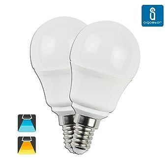 Aigostar 176273 - Pack de 2 Bombillas esfericas LED A5 G45, 5W, casquillo fino