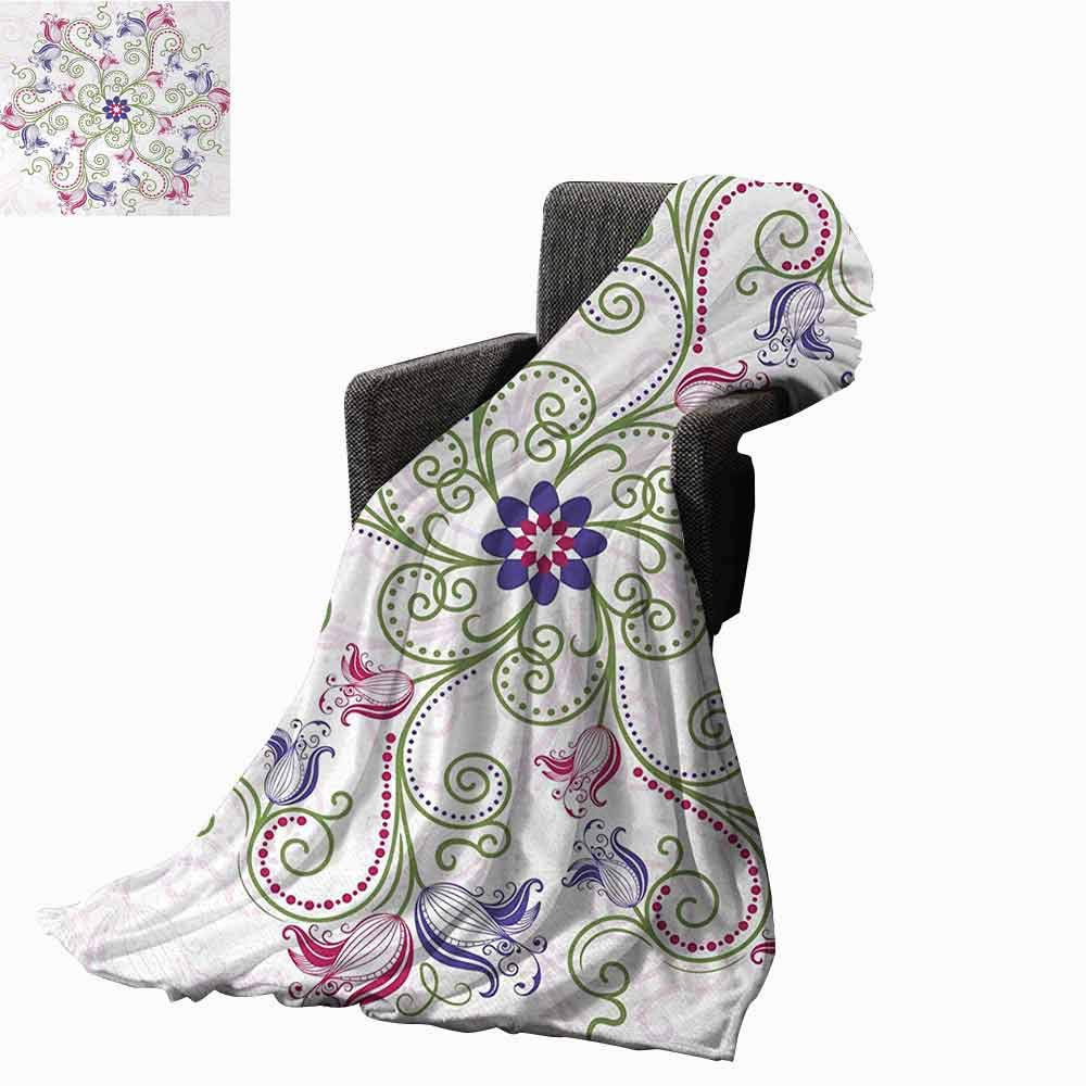 vanfan-home Mandala Beach Blanket,Round Flower Frame Design Classical Vintage Floral Art with Ottoman Tulips Cozy and Durable Fabric-Machine Washable (70''x50'')-Purple Green White