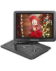 """QKK 14.1"""" tragbarer DVD Player, Auto DVD Player, 5 Stunden Akku, 270°drehbares HD Display, unterstützt USB und SD Karte, USB Datenreplikation Funktion, Schwarz. (14.1 Inch)"""