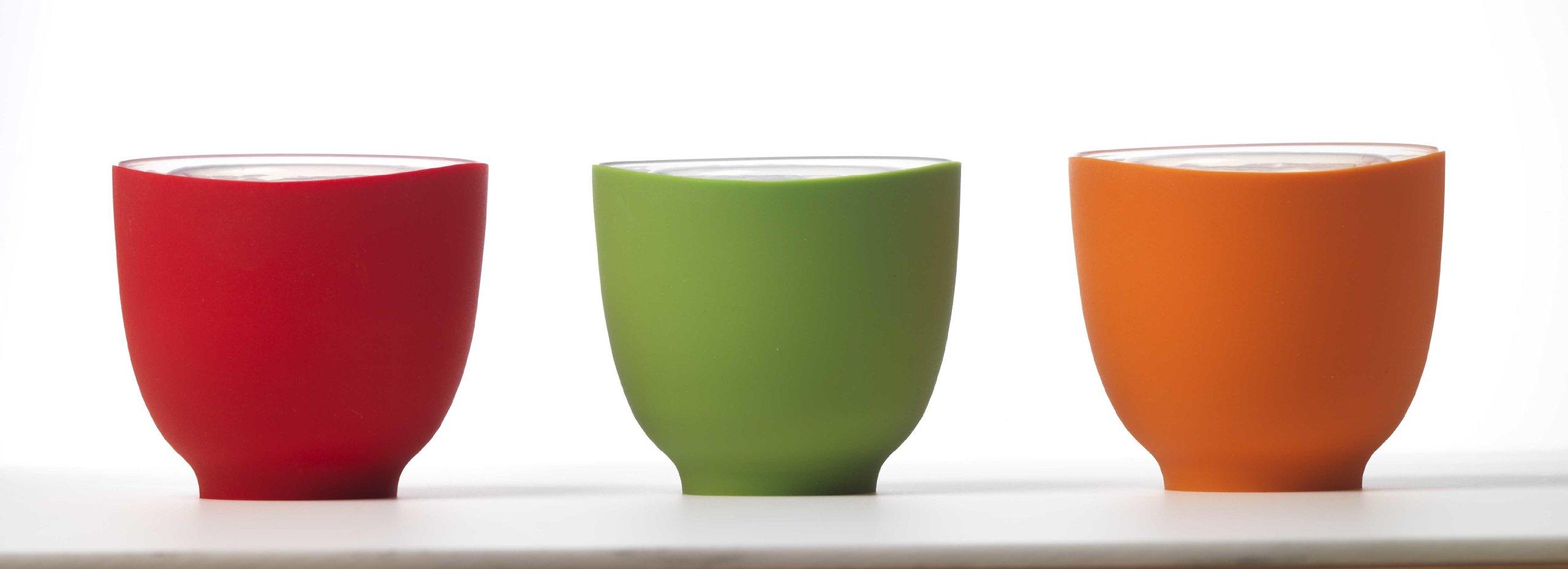 iSi Basics Flexible Silicone Prep Bowls, Set of 3, Red, Orange, Wasabi