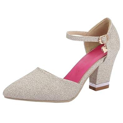 74ad7e04d526 RAZAMAZA Femmes Bout Ferme Bride Cheville Escarpins D Orsay Chaussures Gold  Size 33 Asian
