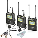 Saramonic UWMIC9 RX9 + TX9 + TX9, 96-Channel Digital UHF Wireless Dual Lavalier Microphone System, Dual-XLR Output Connector Cable Included ¡