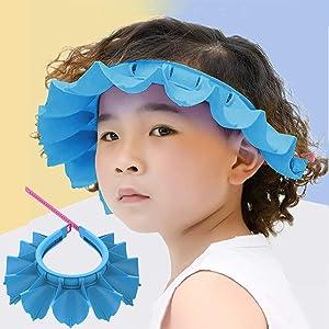 Baby Silicone Shower Cap Bathing Hat, Adjustable Shower Cap Kids, Infants Soft Protection Funny Safety Visor Cap for Toddler Children (Blue)