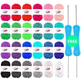 yarn colors - BCMRUN 24 Assorted Colors Acrylic Yarn Skeins comes with 2 crochet hooks Perfect for Any Knitting and Crochet Mini Project