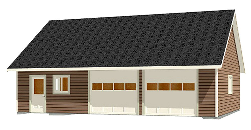 Garage Plans : 2 Car With Shop - 988-1r - 38' x 26' - two car - By Behm Design by Garage Plans By Behm Design (Image #1)