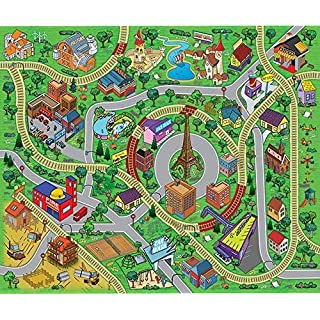 Large Cityscape Play Mat with Train Tracks, Buildings, and Roads for Cars, Trucks, and Trains