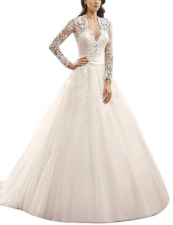 Brautkleid Prinzessin Damen Hochzeitskleider Vintage Lang Spitze