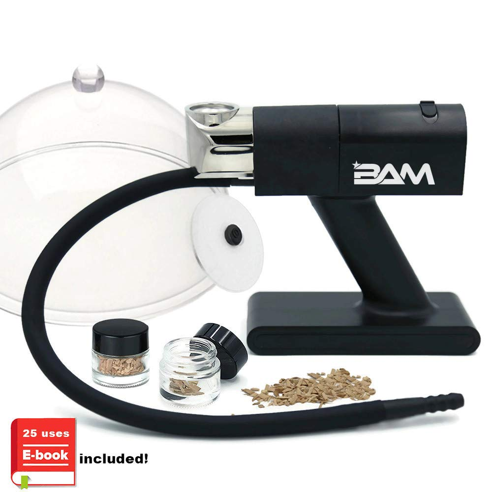 Bam Smoking Gun Electric Smoker - Full Portable Wood Smoke Flavor Kit with Dome and Cup Lid and Woodchips - Cold Smoke for Food and Drinks