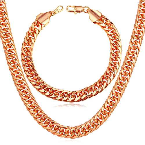 Men 18K Stamp Jewelry Set Rose Gold Plated 9MM Wide Thick Chunky Franco Curb Chain Necklace Bracelet (30