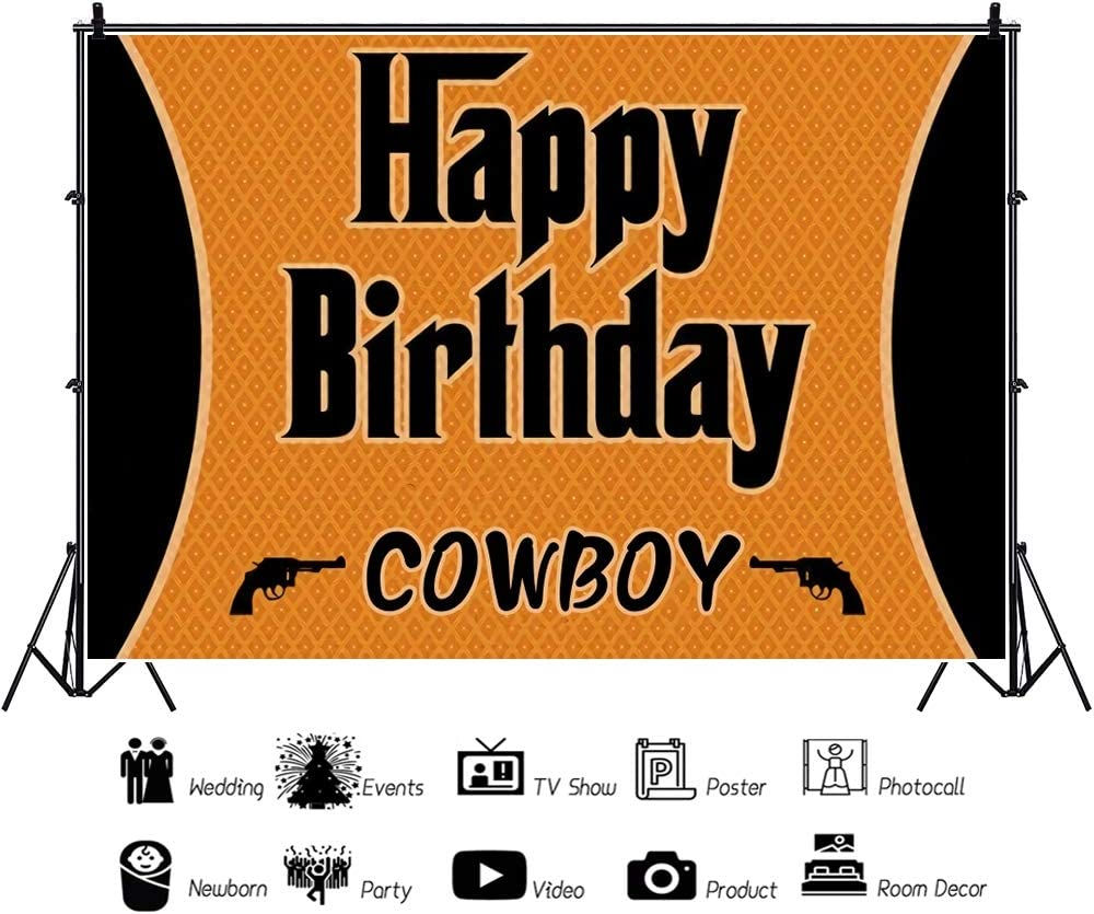 Yeele Western Cowboy Pistol Backdrop 10x8ft Boy Kids Birthday Party Photography Backdrop Kids Adults Artistic Portrait Birthday Banner Kids Acting Show Photo Booth Photoshoot Props Wallpaper
