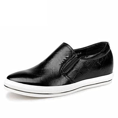 Height Increasing Elevator Shoes 2.36 Inch Indentation Cow Leather Slip On Business Casual round Shoes