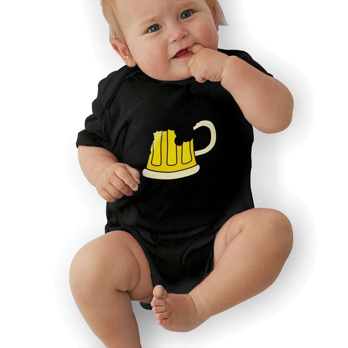 BONLOR Beer Baby Boys Girls Jumpsuits Short Sleeve Romper Bodysuit Bodysuit Jumpsuit Outfits Black