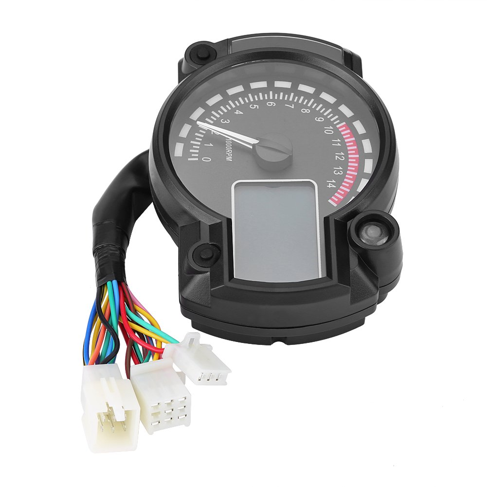 Qiilu Universal Motorcycle Digital Colorful LCD Speedometer Odometer Tachometer W/ Speed Sensor