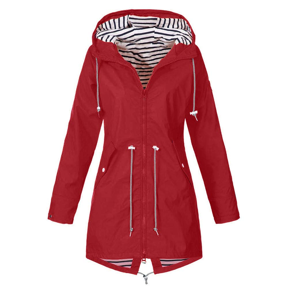 Women Rain Mac Raincoat Parka Jacket Hooded Shower Proof Rain Coat