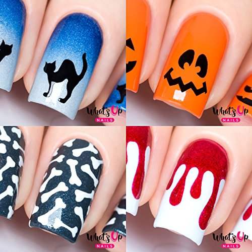 Halloween Nails (Halloween 4 pack (Cat, Pumpkin Faces, Bones, Dripping))