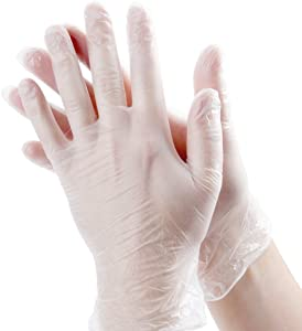 Noble Disposable Gloves Clear Medium Powder-Free Disposable Vinyl Gloves for Foodservice Medium Size Pack of 100