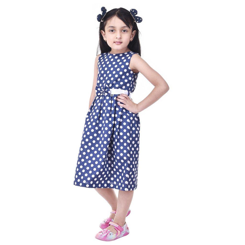 61c479c9a GOODWILL Girl s Polka Dot Cotton Frock-GWK-001Blue  Amazon.in ...
