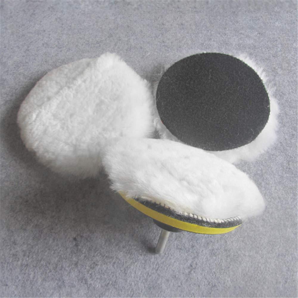 Kit de Vadrouille de Roue de Tampon de Laine de Tampon de Polissage pour Adaptateur de Perceuse de Polisseuse de Voiture