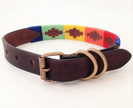 Hecho a mano perro de piel cuello Multi Color bordado Polo ...