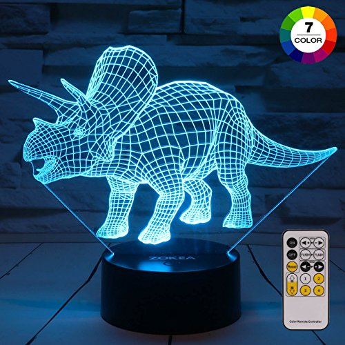 (ZOKEA Night Lights for Kids Dinosaur 3D Night Light Bedside Lamp 7 Colors Changing with Remote Control Best Birthday Gifts for Boys Girls Kids Baby (Dinosaur)
