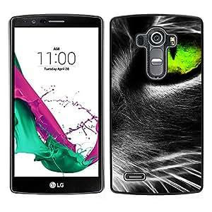 LECELL--Funda protectora / Cubierta / Piel For LG G4 -- Gato vibrante de ojos gris verde lindo felino --