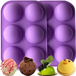 Ninesoil silicone sphere mold,Easter Hot chocolate bomb mold for Hot Chocolate Comb,Baking Cake,Pudding, Jelly,mousse,hand made soap (purple, pcs+1pcs)