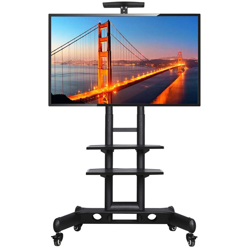 Yaheetech Adjustable Mobile TV Stand with Storage Shelves and Heavy Duty Base Stand Rolling TV Carts on Wheels for 32 to 65 inch LCD LED Plasma Flat Screen Panel up to 110 Lbs Black
