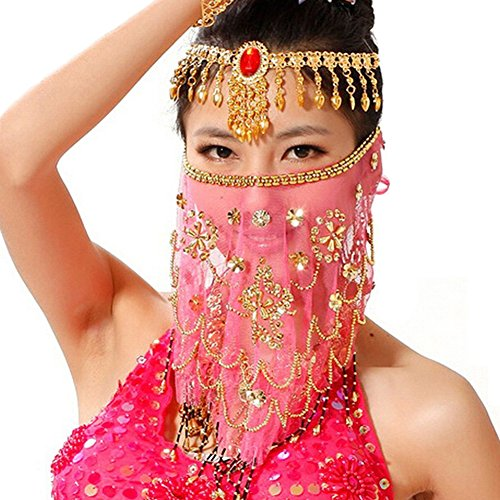 Saymequeen Women Beaded Belly Dance Face Veil Lady Beautiful Costume Accessory (rose red)