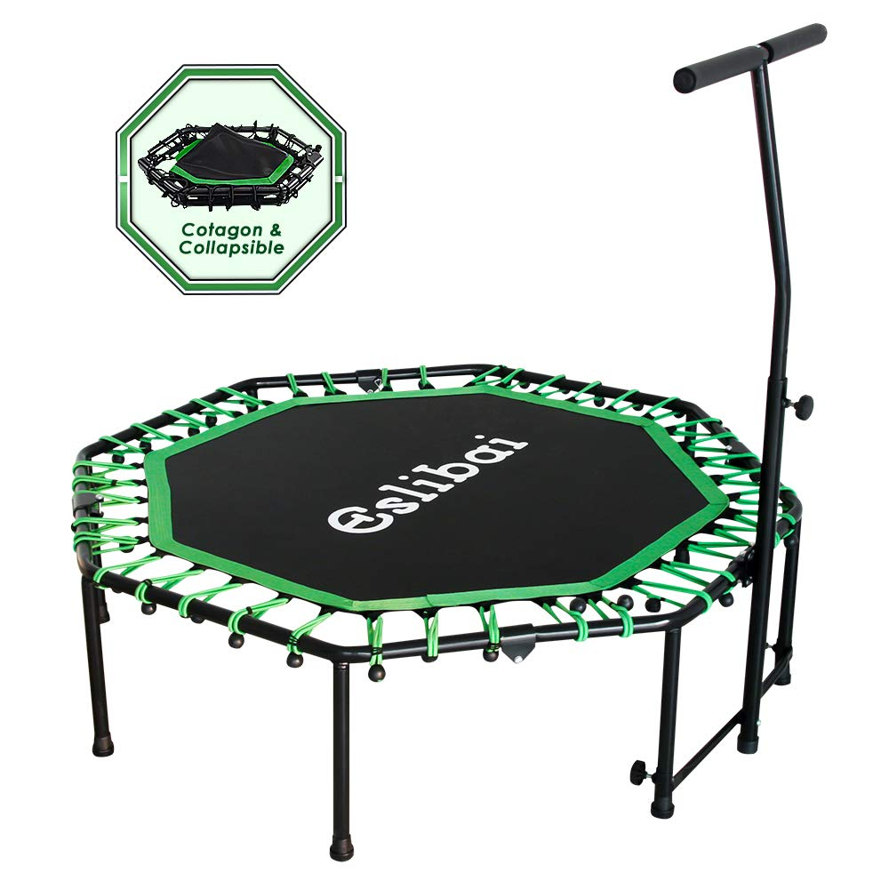 Eslibai Foldable Rebounder 50 Mini Trampoline with Handrails for Adults Exercise, Max Load 300lbs Exercise Trampolines for Indoor Garden Workout Cardio