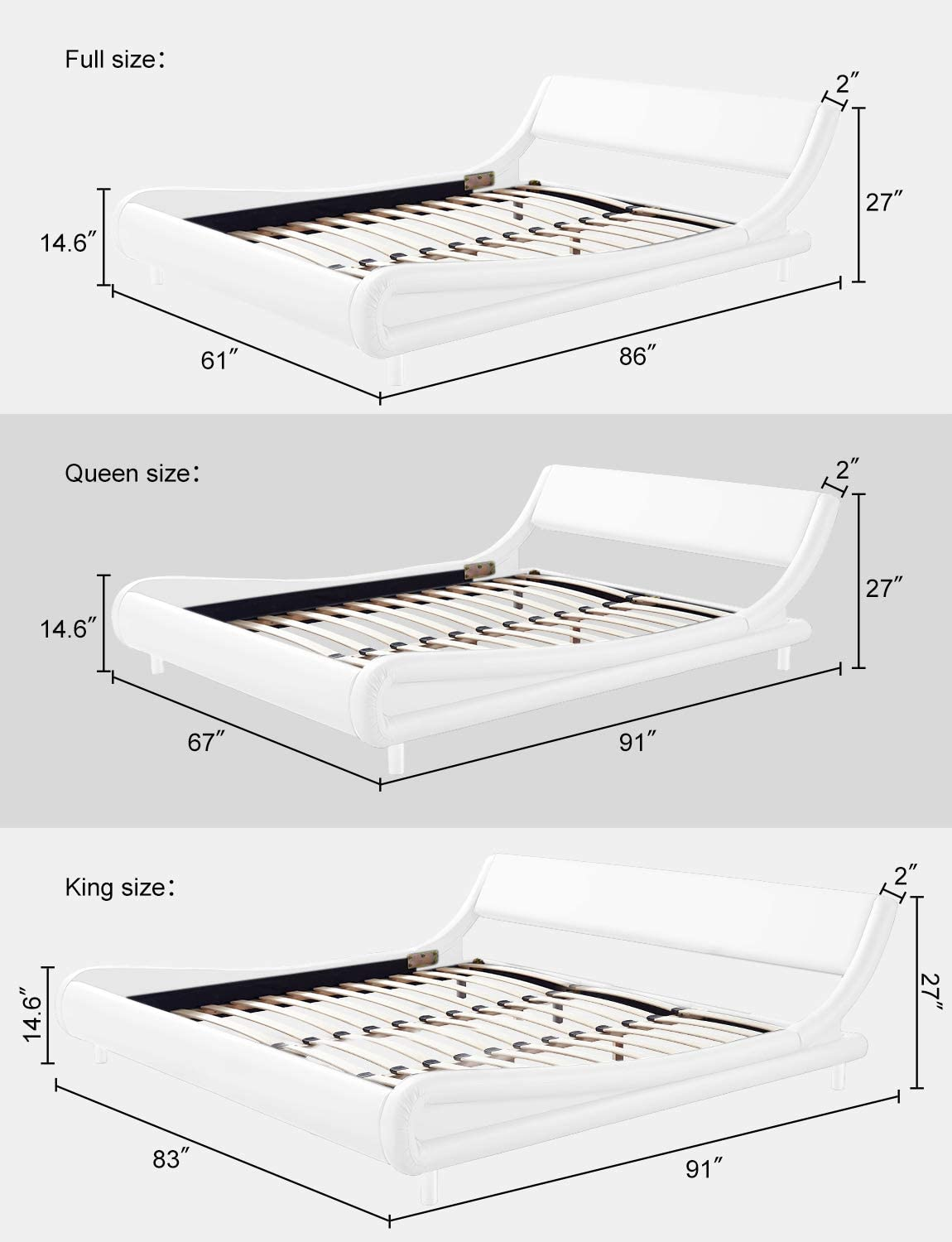 Kealive Queen Size Bed Frame with Headboard PU Leather Modern ...