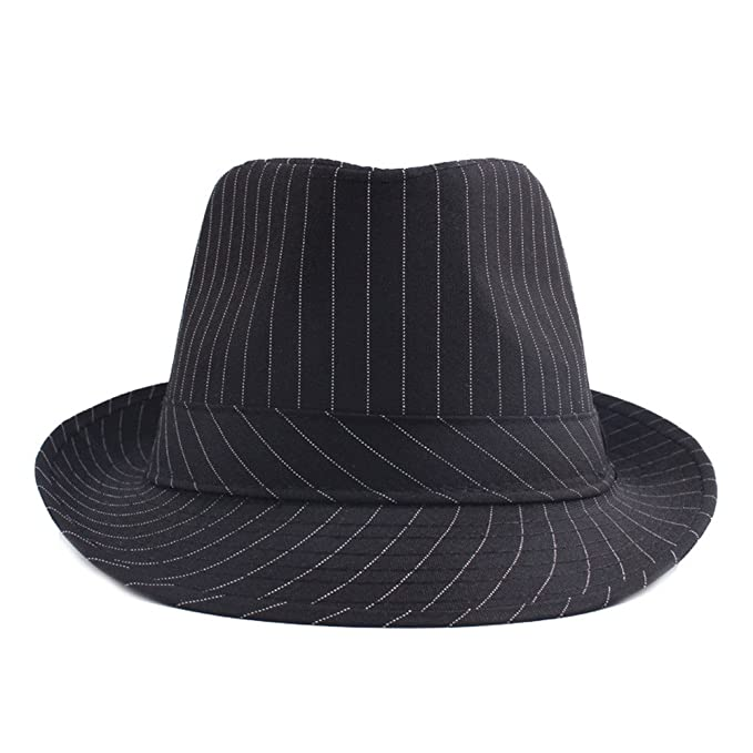 6cdb03209e3 doublebulls hats Fedoras Hat Trilby Hat Women Men Autumn Stripe Classic  Jazz Hat Curling Hats at Amazon Men s Clothing store