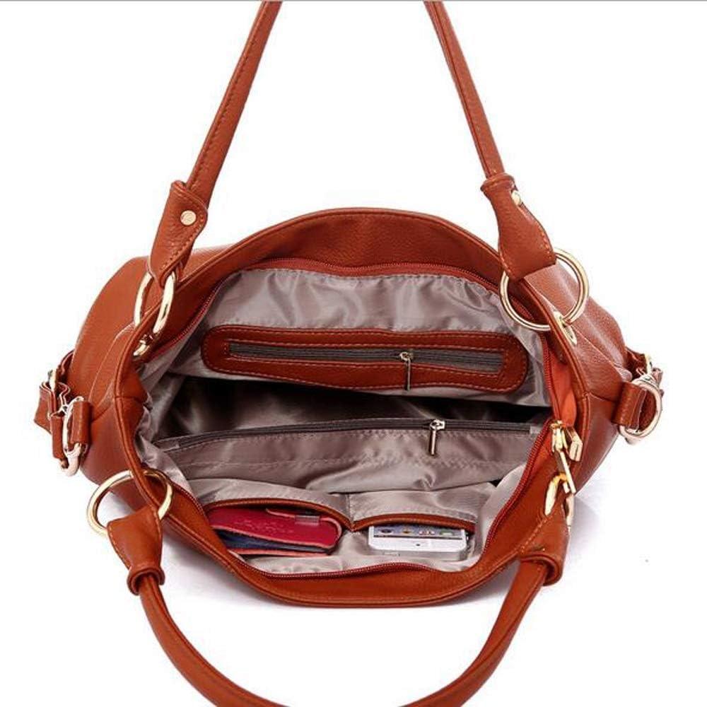 Handtaschen für Frauen Damen Schultertasche Große Designer Damen Tasche Eimer Geldbörse Leder Schultertasche YJXUSHYQ (Farbe : Black) White