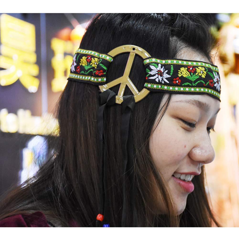 MOAMG Fashion Hippie Headband Peace Sign Headband 60s 70s Hippy Dressing Accessory Festival Hair Band Bridal Headpiece