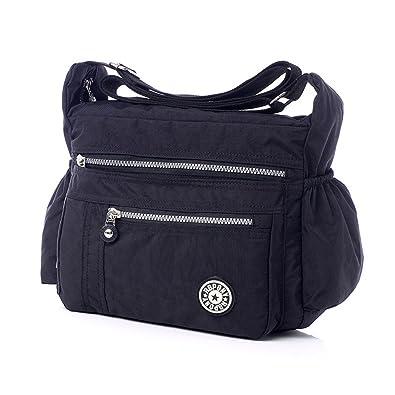 087b66323a Leisure Women Tote Messenger Cross Body Handbag Ladies Bag Shoulder Bag  Purse (Black)