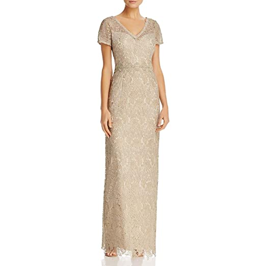 941c0e57b93 Adrianna Papell Womens Short Sleeve V-Neck Long Metallic Lace Gown at Amazon  Women's Clothing store: