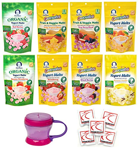 Yogurt Melts Gerber Graduates Ultimate - Bundle of 8 Yogurt Melts and 1 Snack Catcher Cup - Includes Every Melt Flavor Available by Narrow Path Sales