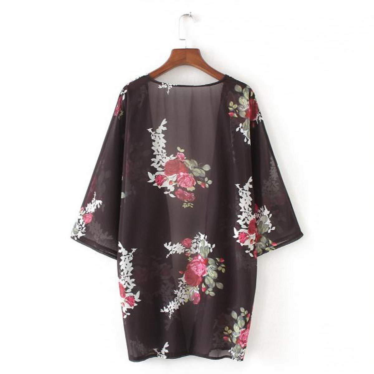 OTINICE Women's Chiffon Kimono Cardigans Floral Puff Sleeve Casual Loose Swimwear Cover ups Black by OTINICE (Image #4)