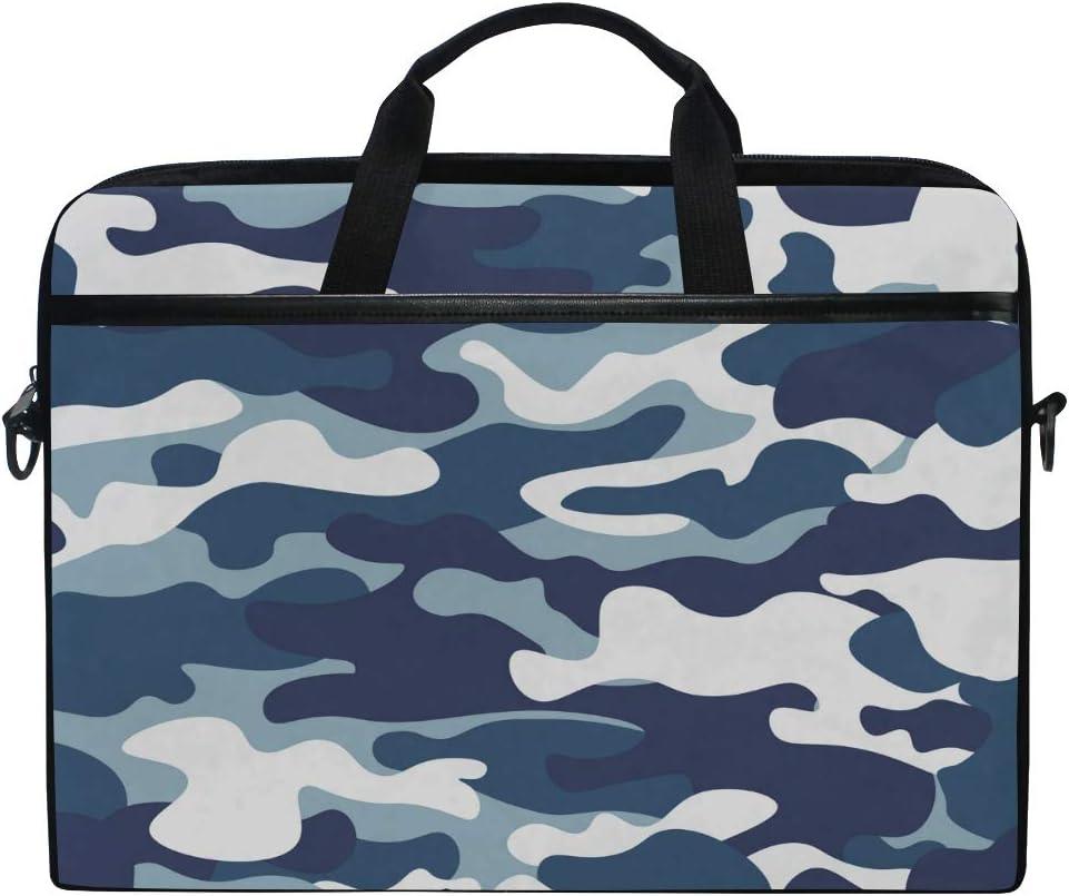 HAIIO Laptop Bag Case Classic Blue Camo Camouflage Print Computer Protector Bag 14-14.5 inch Travel Briefcase with Shoulder Strap for Women Men Girl Boys